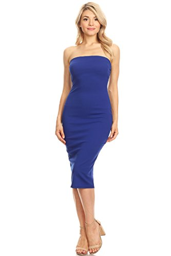 Casual Solid Strapless Midi Bodycon Tube Dress/Made in USA ROYAL 2XL ()