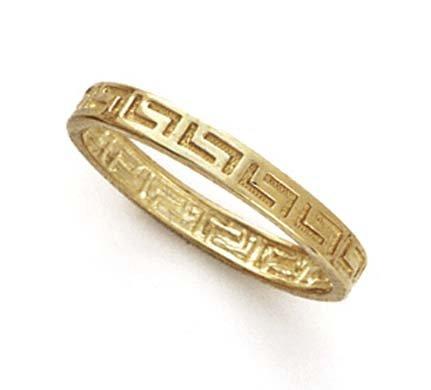 14k Yellow Gold Greek Key Thumb Ring - Size 7.0 14k Yellow Key Ring