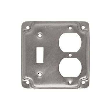 Hubbell Raco 906C 1 Duplex Receptacle and Toggle Switch 4-Inch Square Exposed Work Cover