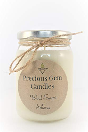 Gemstone Candle - Wind Swept Shores - Soy Candle with A Gemstone Inside (Surprise Semi-Precious Faceted Gemstone Valued $10-$5,000)