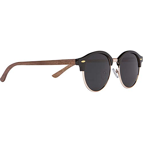 Woodies Walnut Wood Half-Rim Foster Sunglasses with Black Polarized Lenses