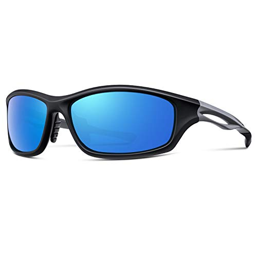 Alpment HD Anti Glare Polarized Sports Sunglasses for Men Women Fishing Golf Skiing Water Sports TR90 Unbreakable Frame Glasses with Adjustable Temple, Rectangular Blue Lens