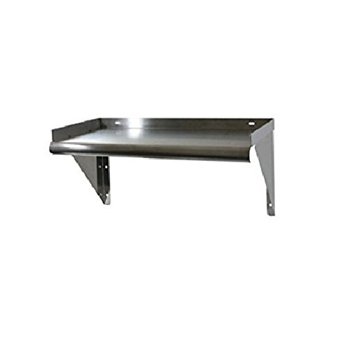 Commercial Stainless Steel Wall Mount Shelf 12 x 24 - NSF - 3-Sided