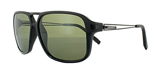 Serengeti Sunglasses For Men VENEZIA 8191 Polarized Photochromic Black Green lenses Full Rim Rectangular 60 mm Metal - Sunglasses Venezia