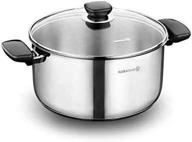 وعاء طهي كوركماز كابا 24 * 12 سم سعة 5.5 لتر، فضي – (A1687)