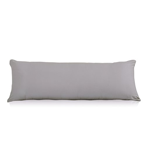 Evolive Soft Microfiber Body Pillow Cover Replacement 21x 54 with Hidden Zipper Closure (Silver Grey)