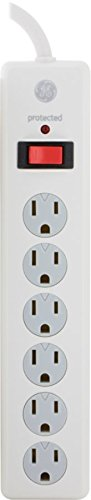 GE Power Strip Surge Protector, 6 Outlets, 10 ft Extra Long Extension Cord, Flat Plug, 800 Joules, Safety Locks, Multi Outlet, Wall Mount, White, 14092