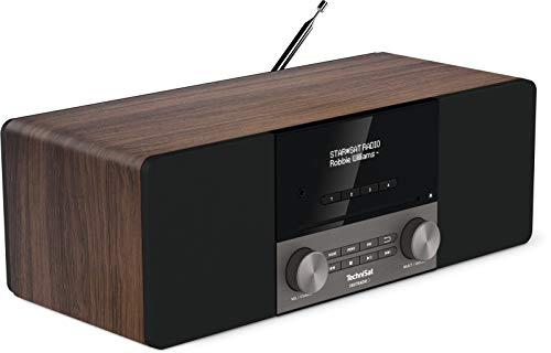 TechniSat Digitradio 3 - Radio estéreo Dab (Dab+, FM, Reproductor de CD, Bluetooth, USB, Conector para Auriculares, Entrada Auxiliar, Radio Despertador, Pantalla OLED, 20 W RMS), Color Nogal
