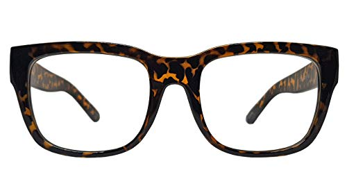 Vintage Inspired Geek Oversized Square Thick Horn Rimmed Eyeglasses Clear Lens (LEOPARD 72640, Clear)