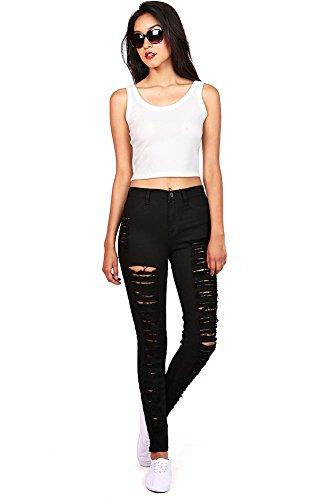 Vibrant Womens Juniors High Waist Shredded Big Flare Jeans