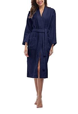 FADSHOW Women's Terry Cloth Robes, Lightweight 100% Terry Cotton Spa Bathrobe, Long