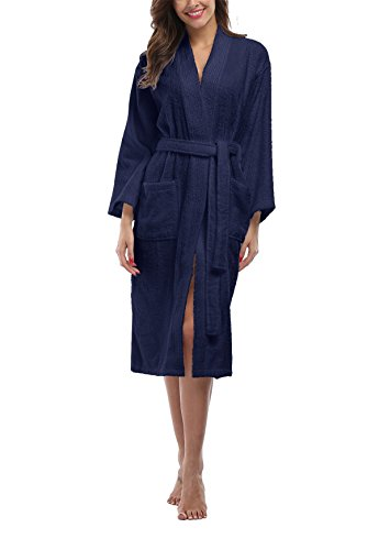 Womens Terry Cloth Robes, Lightweight 100% Terry Cotton Spa Bathrobe,Long