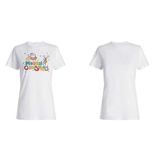 FELIZ NAVIDAD SANTA XMAS FUNNY NOVELTY NUEVO camiseta de las mujeres l84f