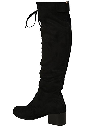 Shelikes Womens Thigh High Front Lace Boots UK 3-8 Black X21p5b