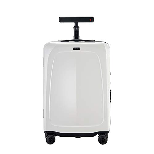 OVIS Auto-follow Suitcase, Side-follow Robot, 20 inch Carry-on, CES2020, Edison Award Winner (Red dot white)