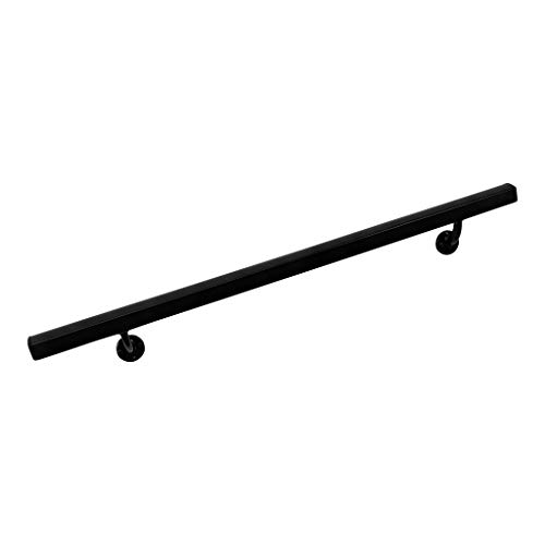 Deck Rail End Brackets - Aluminum Handrail Direct AHR 8' Handrail Section with mounts - Black