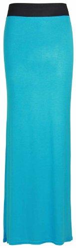 Femmes Contraste Taille Jupe Ceinture Uni Robe lastique Turquoise Neuf Grande t Long Droit Femmes 4wqdR4ExC