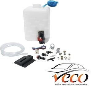 NEW kit CAR CLASSIC UNIVERSAL 24v windscreen washer bottle pump kit COMPLETE