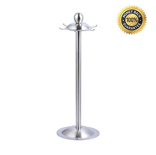 Modern 304 Stainless Steel Kitchen Utensil Holder Organizer 360 Degree Rotating Carousel with 6 Hooks