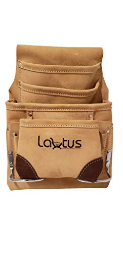 (LAUTUS Leather Tool Pouch Bag |Carpenter, Construction, Framers, Handyman| 10 Pockets)