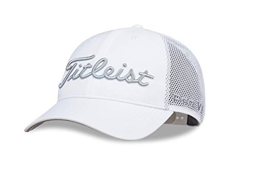Titleist Men's Tour Performance Mesh Golf Hat, White/Grey]()
