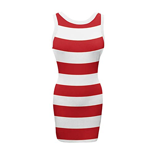 Mortilo Sexy Dresses, The Latest Fashionable Sexy Summer Solid Color Sleeveless o-Neck Thread Wrap Hip Dress for Women(Red_30,S)