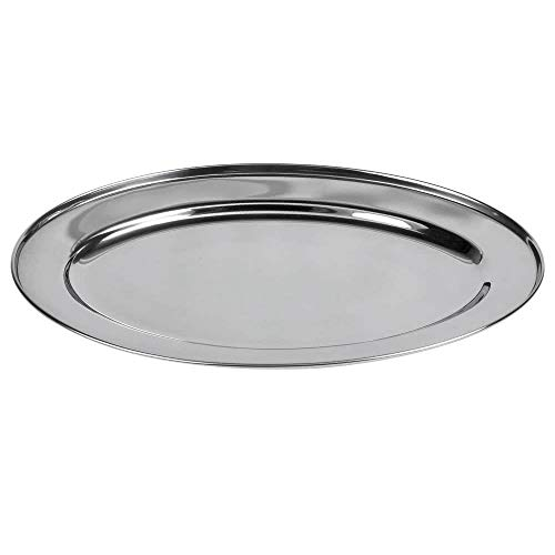 Stainless Steel Fish Platter - Stainless Steel Oval Platter, 20 x14-Inch Serving Platter by Tezzorio