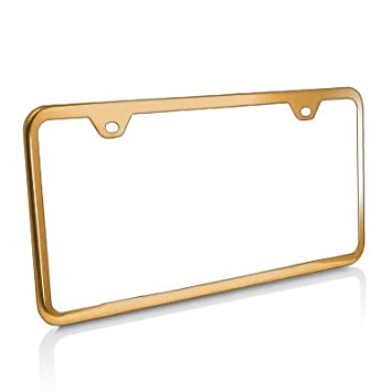 slim gold steel license plate frame with 2 holes