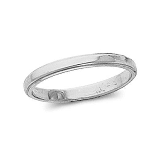 Womens 10K White Gold, Flat Edged Wedding Band 3MM (sz 8)