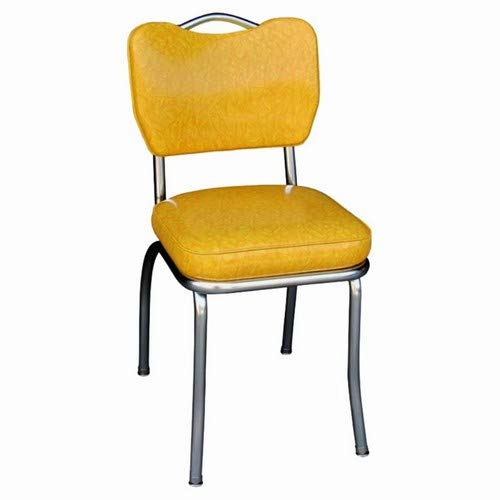 Richardson Seating Handle Back Chrome Diner Chair with 2″ Box Seat, Cracked Ice Yellow