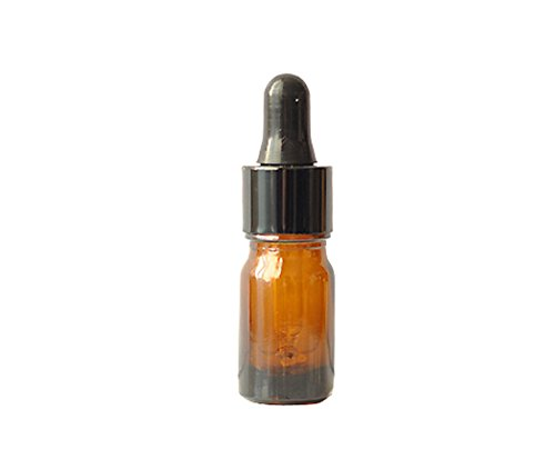 TOPWEL 5ml 12pcs Amber Glass Essential Oil Bottles and Eyed Dropper Caps (Black) by TOPWEL