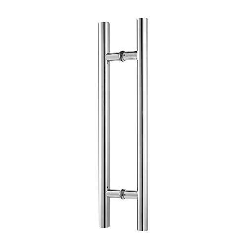 TOGU TG-6012 24 inches Solid Standoffs Heavy-Duty Commercial Grade-304 Stainless Steel Push Pull Door Handle/Barn Door Pull Handle/Glass Pulls, Mirror-Polished Chrome Finish