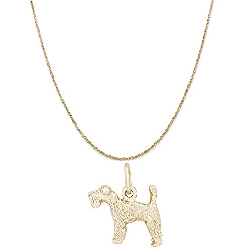 Kerry Charm Dog Blue Terrier (Rembrandt Charms 14K Yellow Gold Kerry Blue Terrier Charm on a Rope Chain Necklace, 20