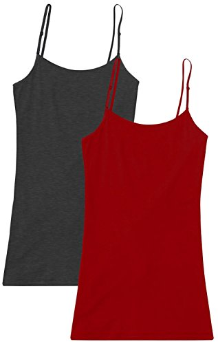 2 Pk Burgundy and Charcoal Grey Cami Tank Tops Pack, Long Camis for Women, Plus