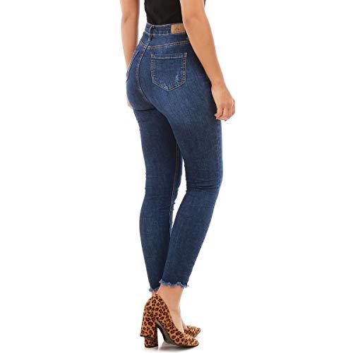 us La et Taille Bleu Modeuse Skinny froiss l'effet Haute lgrement Jeans dlav pxgOC