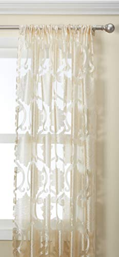 Regal Home Collections Milawi Sheer Jacquard Scroll Rod Pocket Window Panel, 54 by 84-Inch, Beige (Regal Collection Curtain Rod)