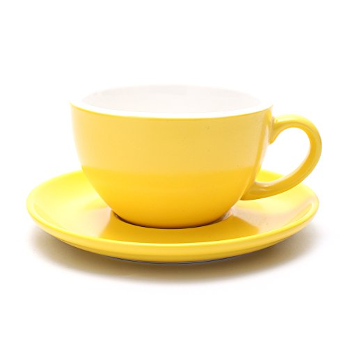 Coffeezone Latte Art Cappuccino Barista Cup and Saucer, New Bone China (Matte Yellow, 10.5 oz)