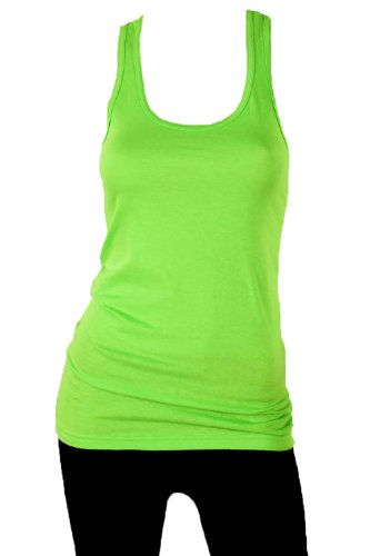 Sofra Women's 100% Cotton Racerback Tank Top-Medium-Lime Green (Green Tank Racerback Lime)