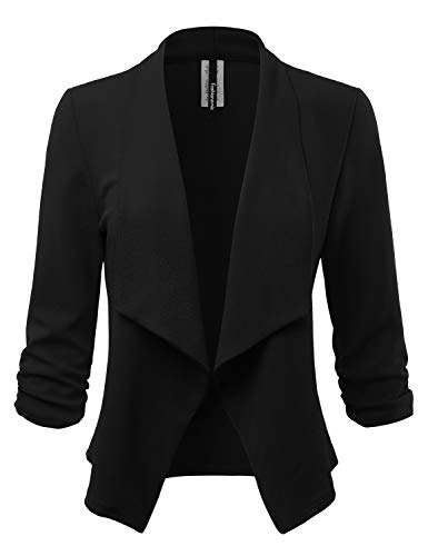 - Women's Stretch 3/4 Gathered Sleeve Open Blazer Jacket (Made in USA) (CLBC001) Black L
