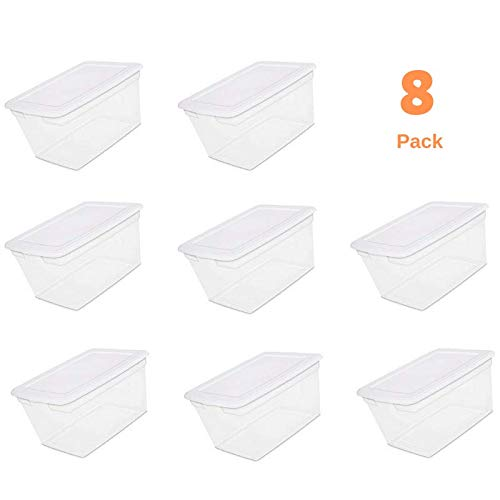 Storage Totes with Lid, Plastic Large Heavy Duty Reusable Bin Containers - Case of 8, 14.5 Gallon Each - for Move Closet Garage Desk Shelves Clothes Books Basement - See-Through with Cover