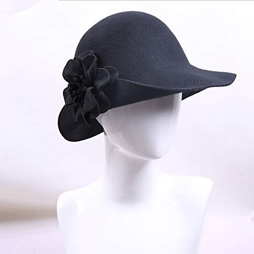Cap Sombrero M Invierno Black Mujeres Size l Happy Flor Copa color Fashion Cúpula Sombrero Black Otoño Lana ocio De OqTgBpw5