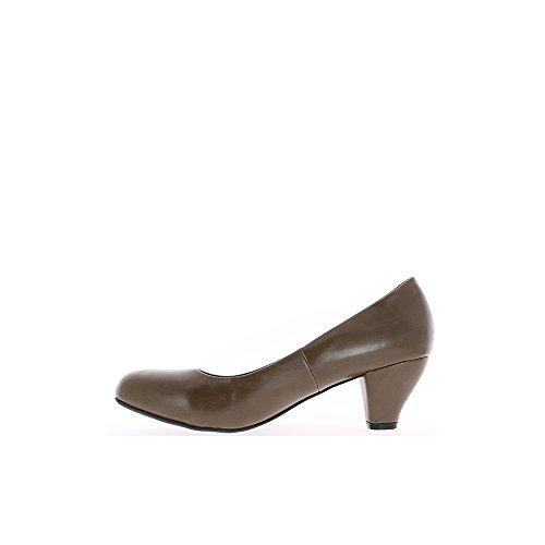 Escarpins femme taupe grande taille à talons de 6,5cm