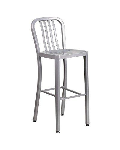 Offex 30'' High Metal Indoor Outdoor Barstool with Vertical Slat Back, 20