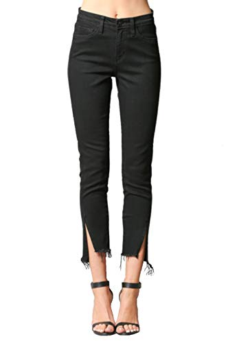 Flying Monkey Jeans Panther Black High Rise Twisted Side Seam Front Slit Crop Skinny (27, Panther Black)