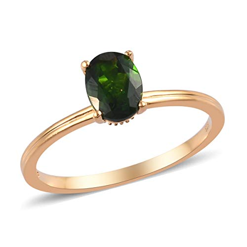 Solitaire Ring 925 Sterling Silver Vermeil Yellow Gold Oval Chrome Diopside Jewelry for Women Size 10 Ct 1