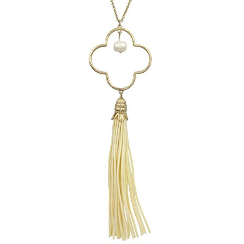 Gypsy Jewels Long Tassel Cord Fringe Open Clover Necklace (Cream Gold Tone)
