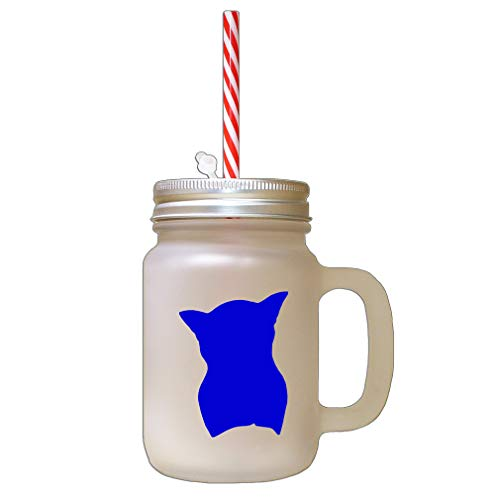 Royal Blue Burmese Cat Head Silhouette Frosted Glass Mason Jar With Straw