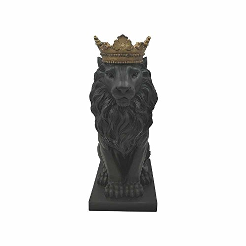 Comfy Hour 15 Resin Stone Lion Figurine King of Forest Statue Sculpture Home Decoration, Black Gold