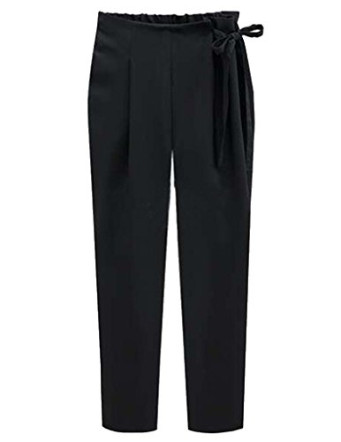 JOLLYCHIC con cordón ajustable para mujer recta diseño con forma de cintura correa de distribución trapezoidal en pantalones de grosor para tuberías de informal negro