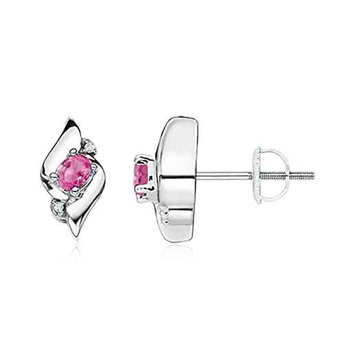 Oval Pink Shell Earrings - Shell Design Oval Pink Sapphire and Diamond Stud Earrings for Women in Platinum (4x3mm Pink Sapphire)